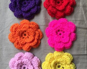 6 pcs Handmade Crochet Flowers Applique