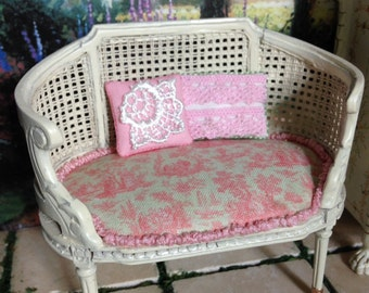 Dollhouse Miniature Shabby Chic Farmhouse Country Cottage Victorian Inspired Louis XVI cane settee