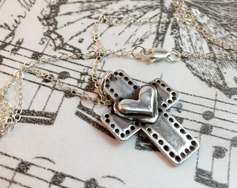 Cross, Heart, Silver, Sterling Silver, Layered, Antiqued