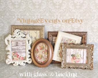 Rustic PICTURE FRAMES - brown cream gold - ornate - rustic romantic -shabby chic wedding - nursery - Glass N Backing