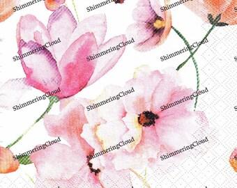 Decoupage Napkins, Paper napkins, Floral Napkins, Magnolia Flower, Magnolia Branch, Magnolia Napkins, Pink Magnolia, Magnolia Patern, Flower