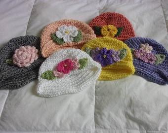 Hand knit Baby Cloche Hat