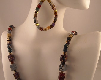 Resin Variegated Painted Square Beads beaded Necklace and Earrings
