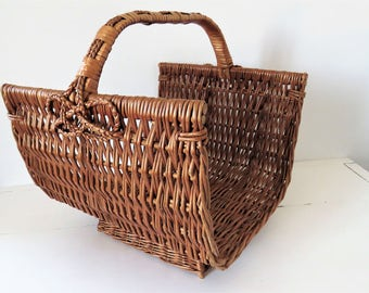 Vintage French, Wicker, Log Basket, Home Decor