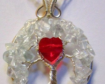 Crystal Quartz Red Swarovski Crystal Heart Wire Wrapped Tree of Life, Crystal Quartz Jewelry, Heart Jewelry
