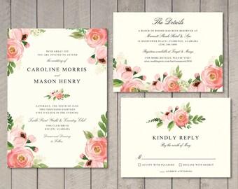 Floral Wedding Invitation, RSVP, Details Card (Printable) - The Caroline Suite by Vintage Sweet