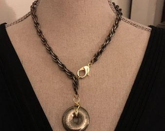 Mixed metal pyrite necklace