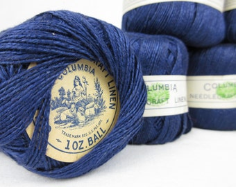 Vintage 1920s / 30s Spools of Navy Linen Thread, Columbia, One Ounce Balls