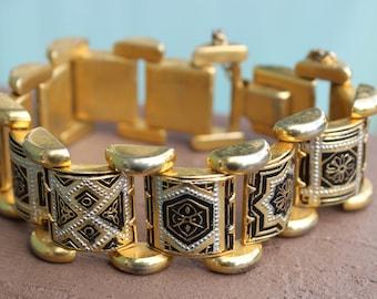 Beautiful High Quality Vintage Damascene Link Panel Bracelet