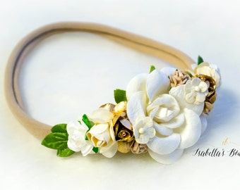 White Ivory Cream Gold Floral Crown - Floral Halo Floral Boho Headband Newborn Photo Prop Shabby Chic
