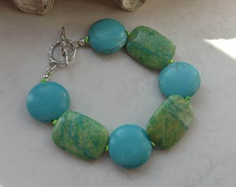 Turquoise and Lime Knotted Stone Bracelet with Sterling Silver