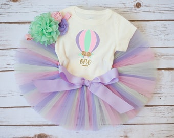 Hot air balloon outfit 'Elizabeth' hot air balloon birthday pink mint lavender, baby girl first birthday outfit, first birthday outfit girl