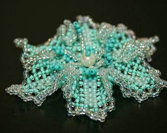 Teal Beaded Floral Brooch, Mint Flower Pin, Seed bead Jewelry
