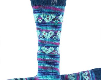 Socks, Hand Knit Unique Socks, Heart Socks, Heart Design, Boho Socks, Men Women Socks, Bohemian Socks, Blues, Stylish Socks, Unique, Gift