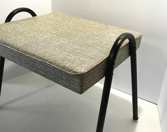 Vintage Black and White Mid Century Modern Hairpin Leg Footstool Bench Ottoman Stool Retro Atomic Sputnik Mad Men Tweed Vinyl w/ Metal legs