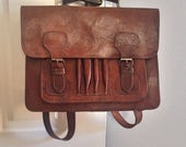 Dark brown chocolat high quality leather handmade messeger satchel old school case ibook ipad backpack