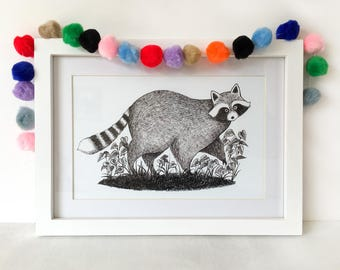 Raccoon Giclée Art Print // A5 and A4 sizes - ink drawing - illustration - children's decor - nursery wall art