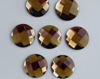 22 x 5mm Amber - Brown Crystal Cabochons - 10 pc