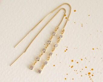 Cz  gold threader earrings - 14K gold-filled ear thread - long cz ear thread earrings-  gold chain earrings - tiny cz bezel