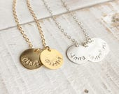 Personalized Custom Necklace, Two Custom Monogrammed Necklace, Two Initials Necklace, Custom Name Necklace, Hand Stamped Personalized Gift
