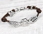 Paws Forever Bracelet -Dog Paw Bracelet - Puppy Jewelry - Puppy Paw Bracelet - Leather Wing Bracelet - B488