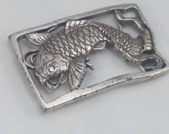 Vintage catfish silvertone metal belt buckle