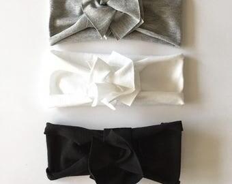 Monochrome Bundle // Save on set of 3 // Flower Jersey Headband // Baby Girl Headband // Infant // Newborn // Adult // Floral :FLB