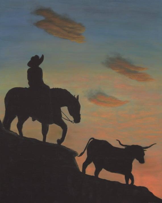 Western art, western painting, cowboy art, cattle, sunset, horse art, horse art print, desert art, Fine Art Giclee Print,  signed art print