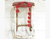 Vintage Metal Stool Red and White Shabby