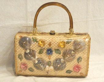 Seashell & Wicker Purse Double Lucite Handles-Clasp Faux Pearls Rhinestones Beach Shells made in Hong Kong