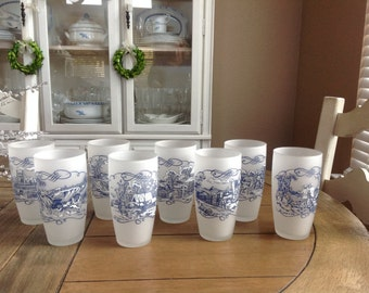 "Set of 8 Currier & Ives White Frosted Glasses from the ""Blue"" 8 Different Scenes"
