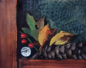"Archival 8"" x 12"" Art Print / Free Shipping / Fall Arrangement on Pie Safe Door (no.145) Oil Painting Realism Autumn Stilllife"