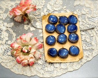VINTAGE: 1940's - 12 Blue and Gold Glass Buttons on Card - Le Chic - Made in Germany - SKU 18-A6-00008493