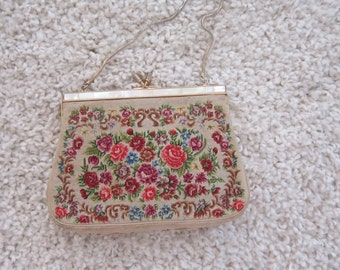 Cream Floral Tapestry Evening Bag