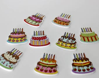 """30 PC Painted wood buttons 30mm - Wooden Buttons ,buttons, natural wood buttons """"cake"""" A093"""