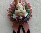 Handmade needle felt bunny rosette badge for Angela