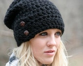 NEW YEAR Sale Slouchy Beanie Hat With Two Buttons Chunky Crochet Winter Hat THE Dartmoor Black