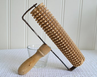 Rustic textured rolling pin, vintage Swedish kitchen utensil, rusty metal