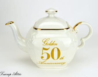 Ellgreave Sandon England 50th Anniversary Cubic Teapot, Wood & Sons Cube Floral Vintage Teapot, ca. 1960