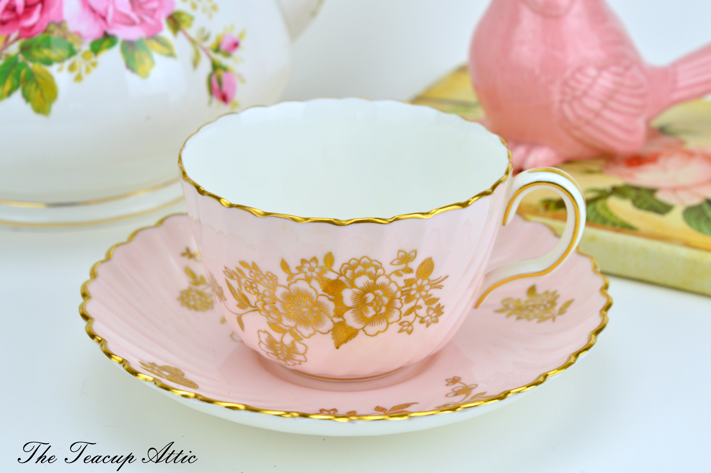 RESERVED FOR S Mintons Pink Swirl Teacup and Saucer With Golden Bouquet, Bone China Tea Cup And Saucer, Replacement China, ca. 1912-1950