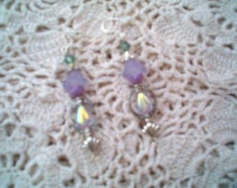 Romantic Quaint Purple Earrings, Beaded Earrings, Lavender & Silver Earrings, Dangle Pierced Earrings, Boho chic, Garden Flower, Handcrafted