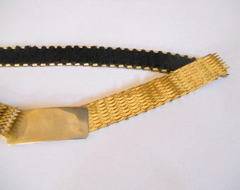 Vintage Metal Stretch Belt Elastic Gold Mermaid Fish Scale Small Medium Large Womens