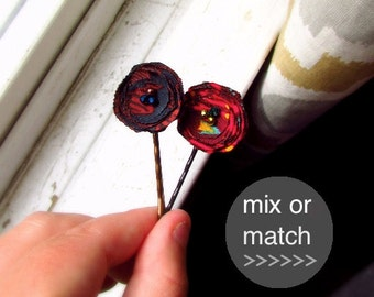 PICK 2 Decorative Hair Pin Short hair Accessories for Women and Teen Girls, Mini Hairpin Barrette, Retro Print Fabric Bobby Set for Tweens