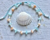 beach jewelry, cultured sea glass jewelry, shell anklet, beachcomber beach jewelry, mermaid anklet