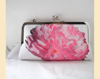 Clutch bag wristlet, pink purse, wedding clutch, bridesmaids gift, evening purse, personalised clutch, pink peony