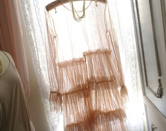 1920's Style Downton Abbey Victorian Tulle Lace Ruffles Beige Cream Flapper Dress Slip Dress 2 pcs Set Great Gatsby Fairytale