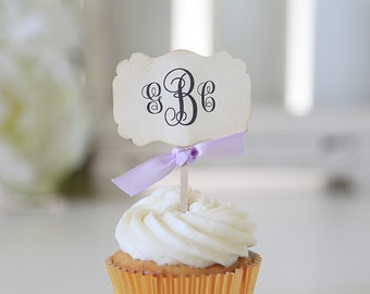 Monogram Cupcake Toppers, Weddings, Bridal Shower, 12 cupcake toppers per 1 order
