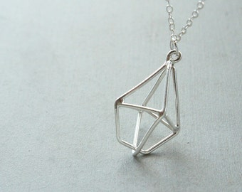 Solitary Diamond Necklace, simple 3D necklace, diamond pendant, diamond charm,  modern geometric jewelry