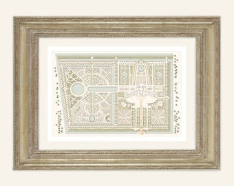 Dutch Antique Garden Plan Large Archival Print on Watercolor Paper