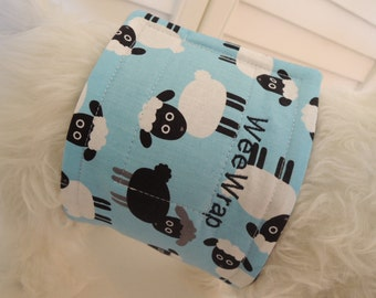 Dog Diaper Belly Band, White and Black Sheep Fabric, Stop Marking,  Personalized, Fast Shipping
